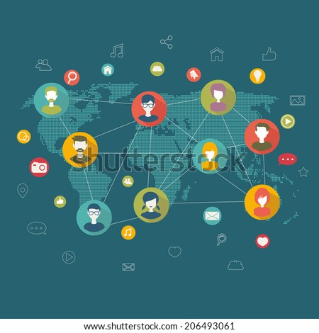 social network flat concept - stock photo