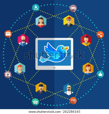 Social network flat illustration avatars earth laptop - stock photo