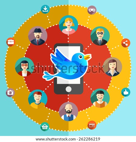 Social network flat illustration avatars earth mobile phone - stock photo
