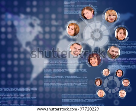 social network friends circle in digital futuristic world mapbackground - stock photo