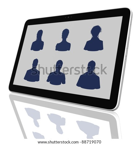 Social Network Group of Tablet Computers - stock photo
