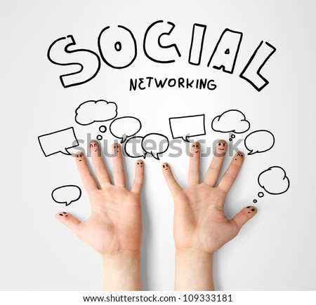 social network, happy finger smileys with speech bubbles - stock photo