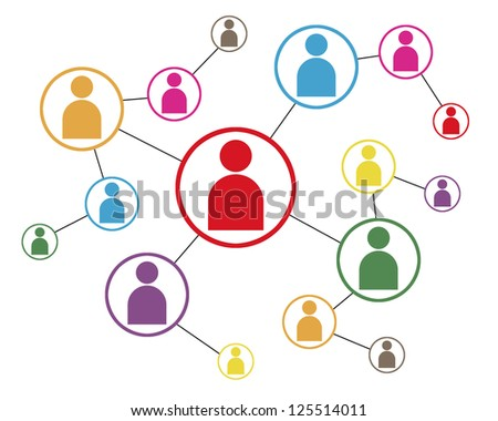 Social Network Icon Map - stock photo