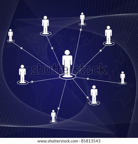 social network icon on dark blue background. - stock photo