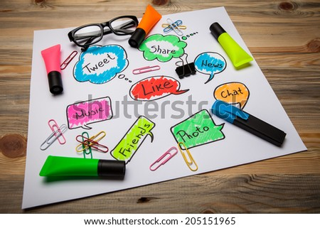 Social network icons.Group of color signs with social media services - stock photo