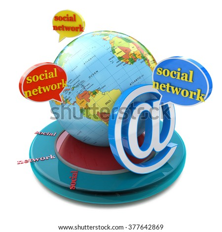 Social network in the design of the information related to the communication and message - stock photo