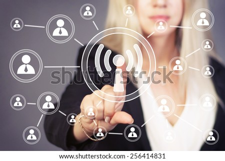 Social Network Interface business wifi sign button web