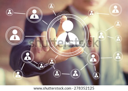 Social Network Interface businessman icon - stock photo