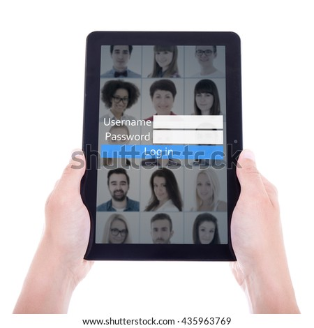 social network login concept - tablet pc in hands isolated on white background