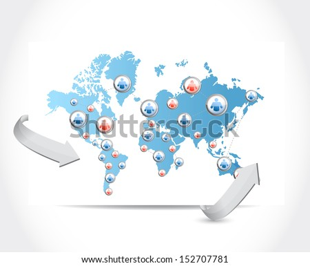 social network map illustration design over a white background