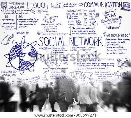 Social Network Media Technology Board Concept - stock photo