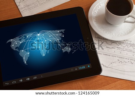 Social network on digital tablet on the table. - stock photo