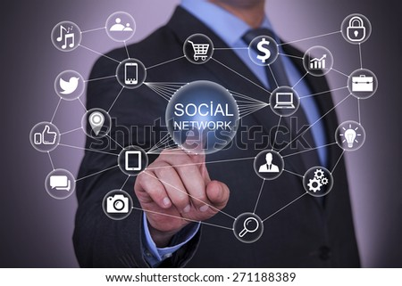 Social Network on Touch Screen - stock photo