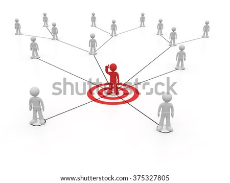 Social network one character with red arm up - stock photo