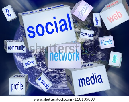 Social network or social media concept. Elements of this image furnished by NASA - stock photo
