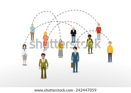 Social network people connection concept illustration - stock photo