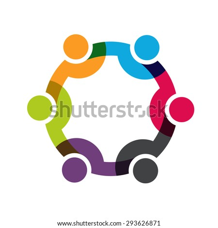 Social Network people logo, Group of 6 people business men.  - stock photo