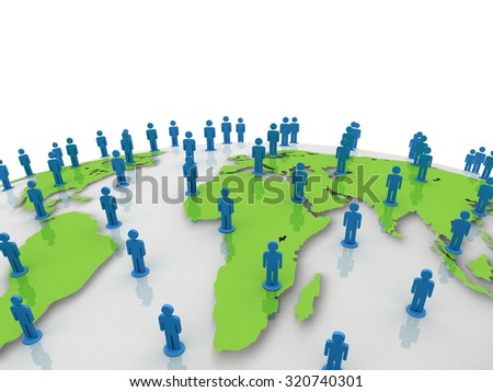 Social network people on green world globe map over white background - stock photo