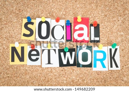 Social Network, pinned on cork bulletin board. - stock photo