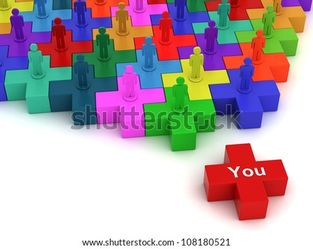 Social network plus concept, colorful plus jigsaw puzzles on white background - stock photo