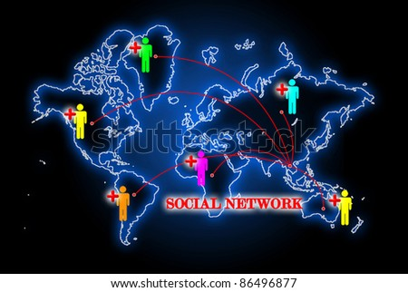 Social network search engines with people plus - stock photo