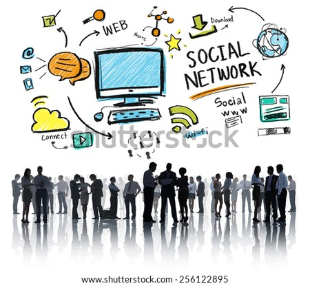 Social Network Social Media Business People Global Concept - stock photo