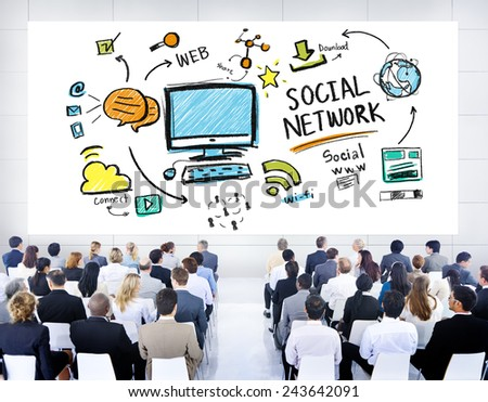 Social Network Social Media Business People Seminar Concept - stock photo