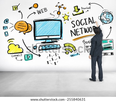 Social Network Social Media Businessman Writing Ideas Concept - stock photo