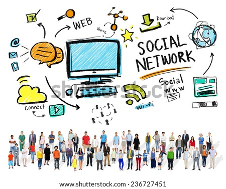 Social Network Social Media Diversity People Community Concept - stock photo