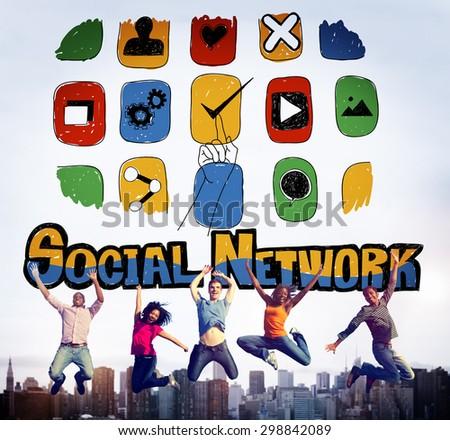 Social Network Social Media Internet Web Online Concept - stock photo