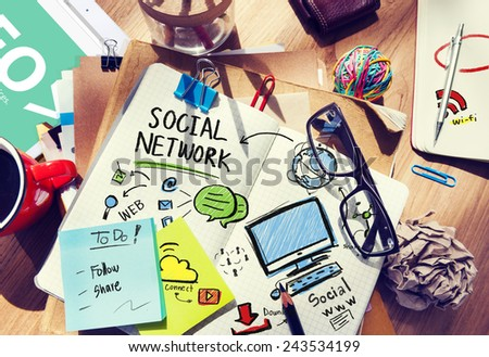 Social Network Social Media Office Desk Workplace Concept - stock photo