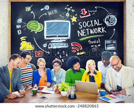Social Network Social Media People Learning Education Concept - stock photo