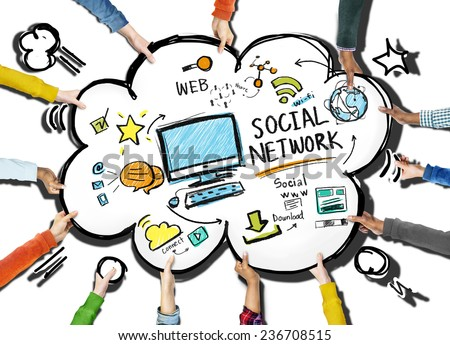 Social Network Social Media People Meeting Teamwork Concept - stock photo