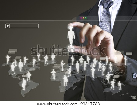 social network structure - stock photo
