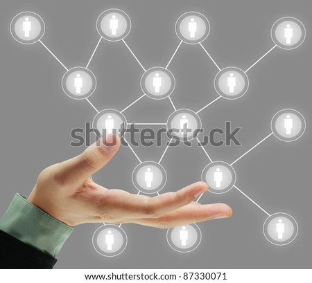 social network structure in a whiteboard - stock photo