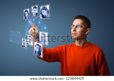 Social network structure in digital futuristic blue background - stock photo