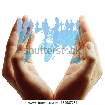 social network structure  in hand - stock photo