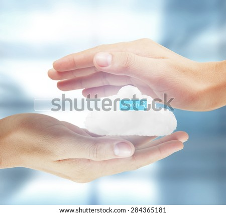 social network structure, new technology  in hand - stock photo