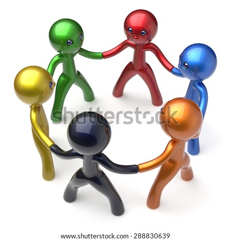 Social network teamwork human resources circle people individuality characters friendship team six different cartoon friends unity meeting icon concept colorful. 3d render isolated - stock photo
