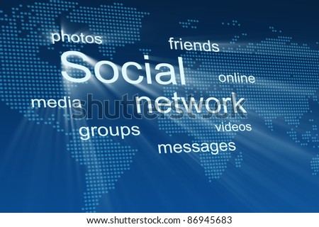 Social network. Technology blue background - stock photo