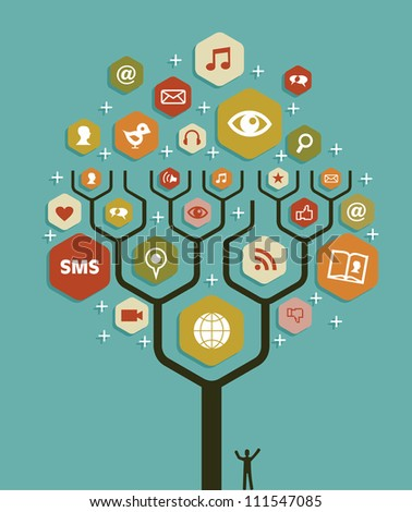 Social network tree business team marketing plan. - stock photo