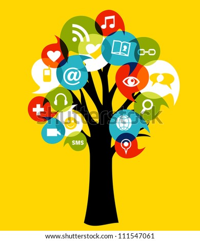 Social network tree with media icons leaf.
