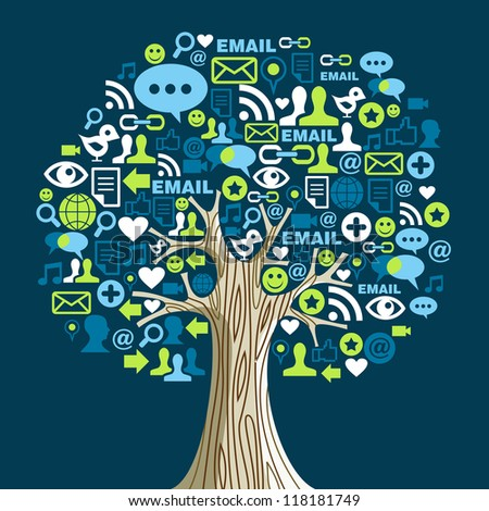 Social network tree with media icons leaves.