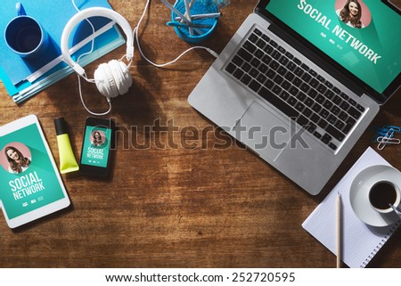 Social network user profile mock up on computer screen, tablet and smartphone - stock photo
