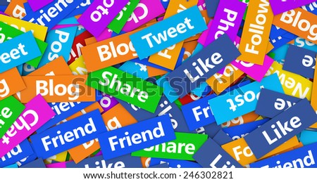 Social network, web and Internet concept background with a multitude of social media words, sign and text on colorful scattered paper. - stock photo