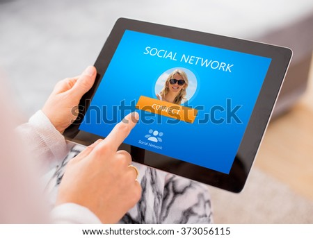Social network website on tablet computer