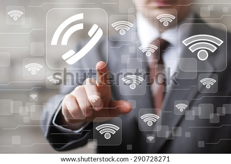 Social network Wifi businessman presses button web telephone icon - stock photo