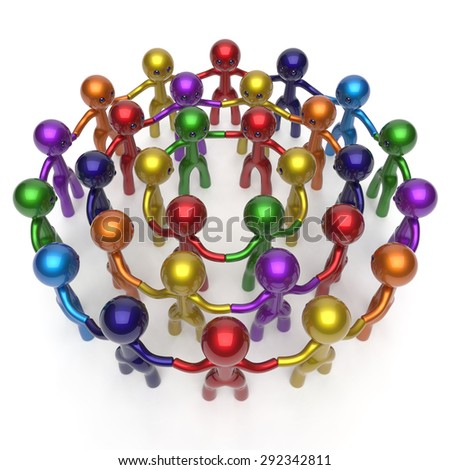 Social network worldwide crowd large circle characters group people teamwork friendship individuality team different cartoon friends corporate human unity icon concept colorful. 3d render isolated - stock photo