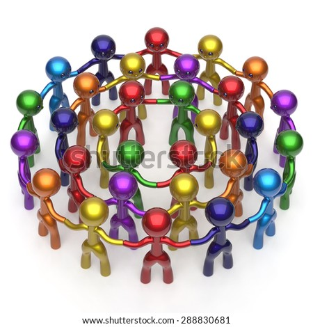 Social network worldwide large circle characters group people teamwork friendship individuality team different cartoon friends corporate human unity icon concept colorful. 3d render isolated - stock photo
