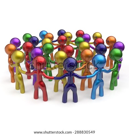 Social network worldwide large group people teamwork circle characters friendship individuality team different cartoon friends corporate human unity icon concept colorful. 3d render isolated - stock photo